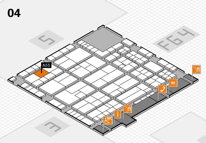 K 2016 hall map (Hall 4): stand A55