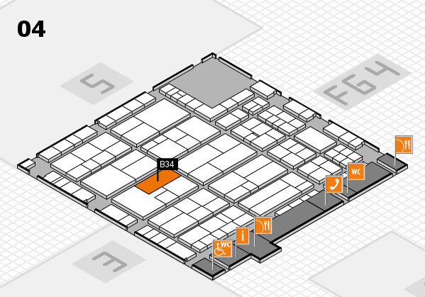K 2016 hall map (Hall 4): stand B34