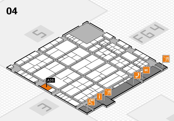 K 2016 hall map (Hall 4): stand A36