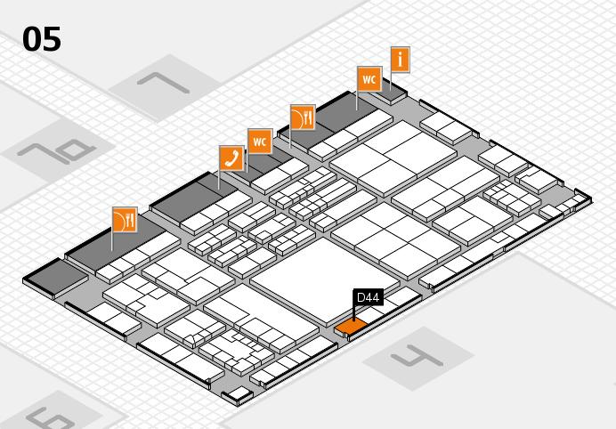K 2016 hall map (Hall 5): stand D44