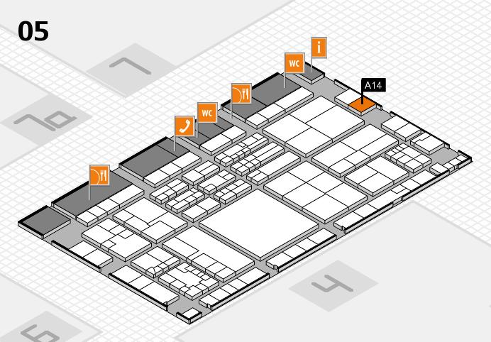 K 2016 hall map (Hall 5): stand A14