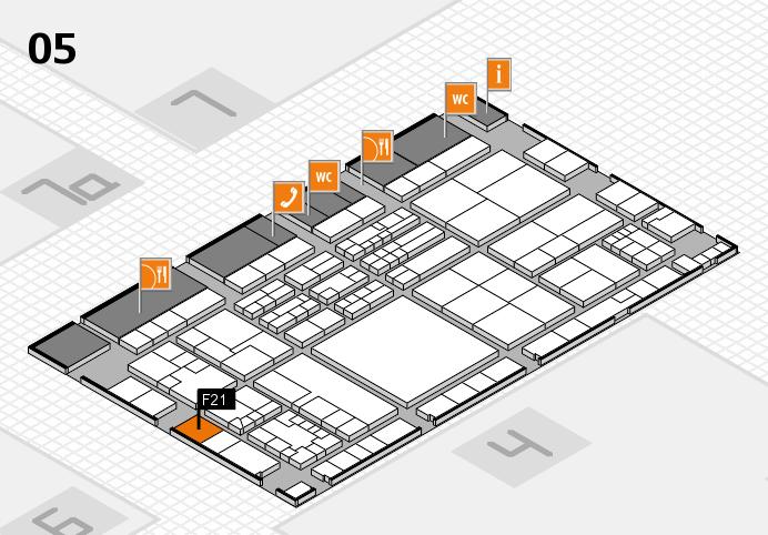 K 2016 hall map (Hall 5): stand F21