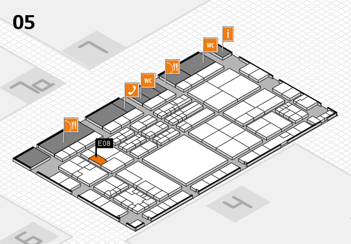 K 2016 hall map (Hall 5): stand E08