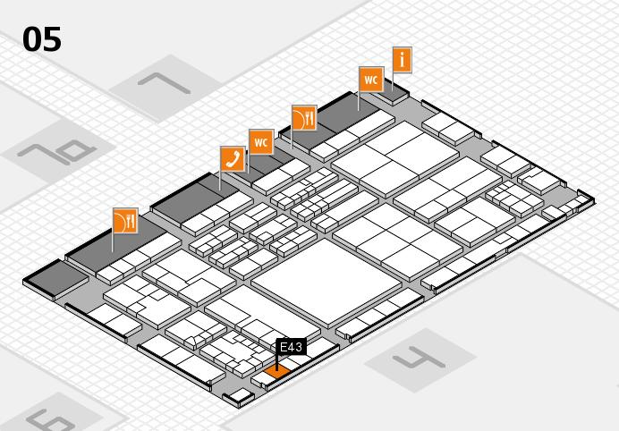 K 2016 hall map (Hall 5): stand E43