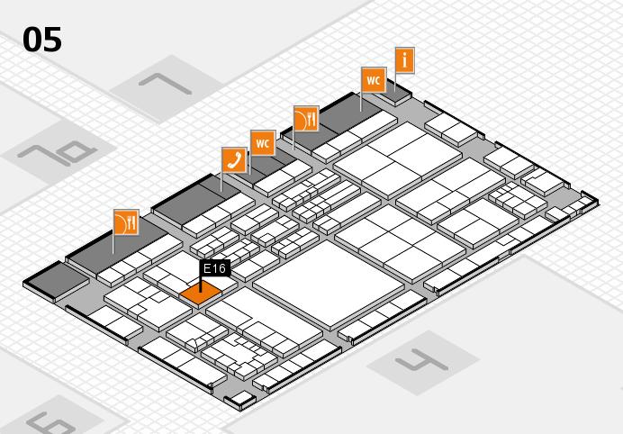 K 2016 hall map (Hall 5): stand E16