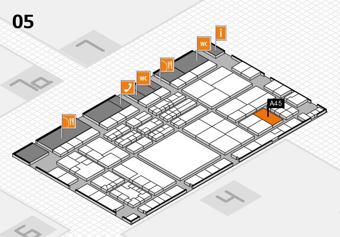 K 2016 hall map (Hall 5): stand A45