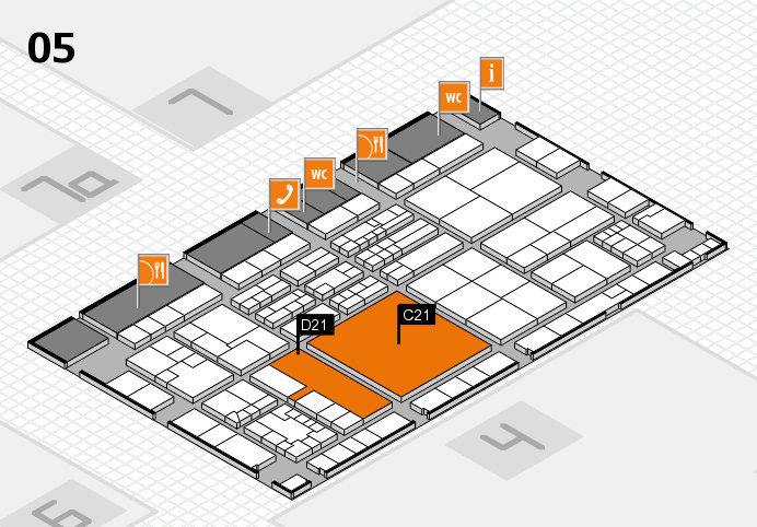 K 2016 hall map (Hall 5): stand C21, stand D21