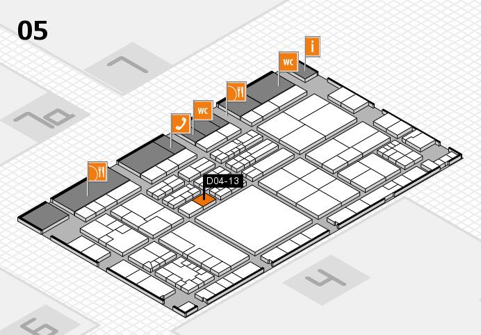 K 2016 hall map (Hall 5): stand D04-13