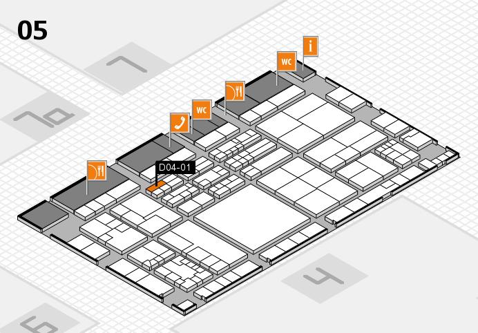 K 2016 hall map (Hall 5): stand D04-01