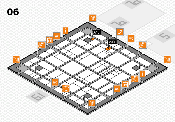 K 2016 hall map (Hall 6): stand A15, stand A33