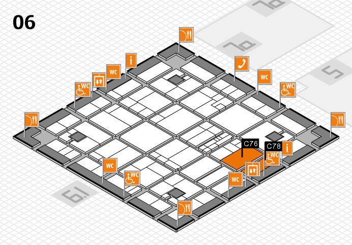 K 2016 hall map (Hall 6): stand C76, stand C78