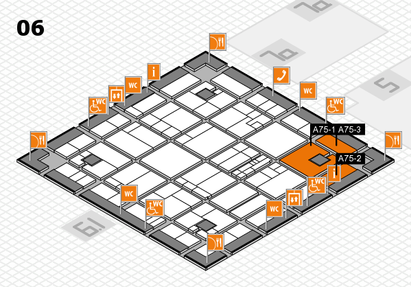 K 2016 hall map (Hall 6): stand A75-1, stand A75-3