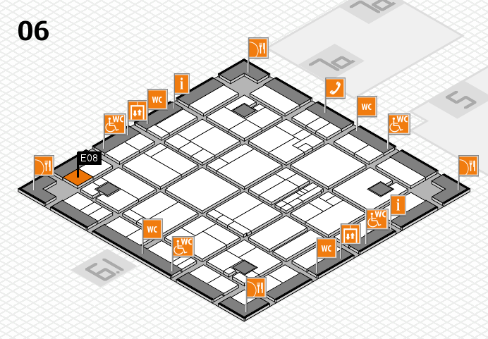 K 2016 hall map (Hall 6): stand E08