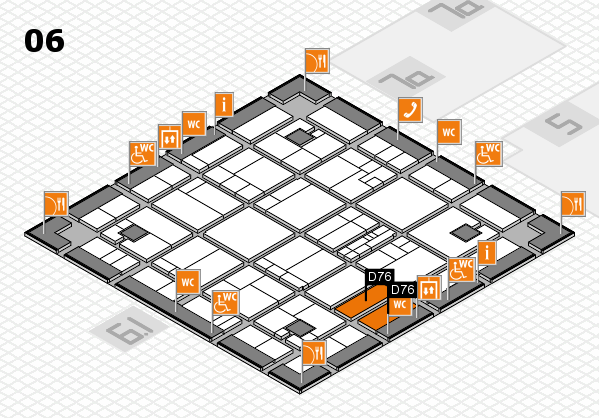 K 2016 hall map (Hall 6): stand D76