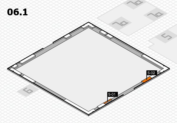 K 2016 hall map (Hall 6, gallery): stand S-01, stand S-02