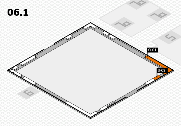 K 2016 hall map (Hall 6, gallery): stand O-01, stand S-03