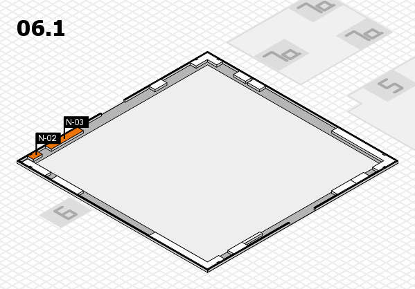 K 2016 hall map (Hall 6, gallery): stand N-02, stand N-03