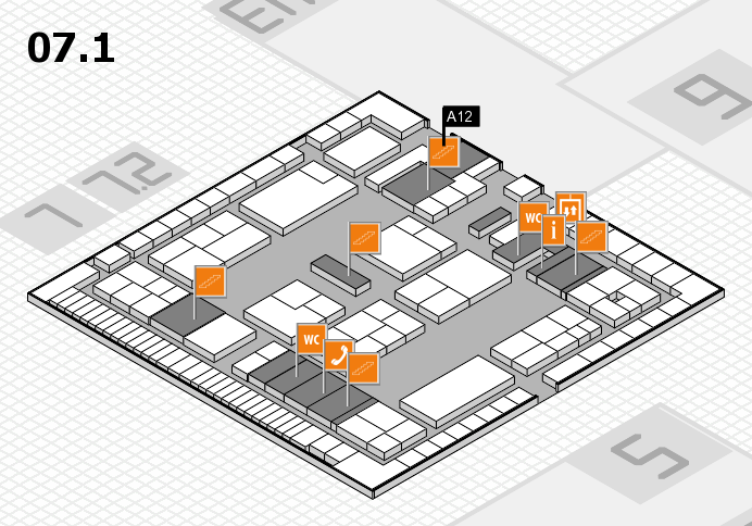 K 2016 hall map (Hall 7, level 1): stand A12
