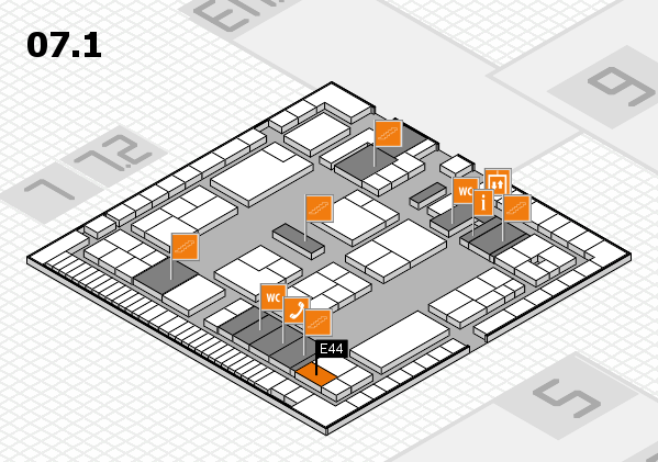 K 2016 hall map (Hall 7, level 1): stand E44