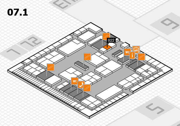 K 2016 hall map (Hall 7, level 1): stand B22