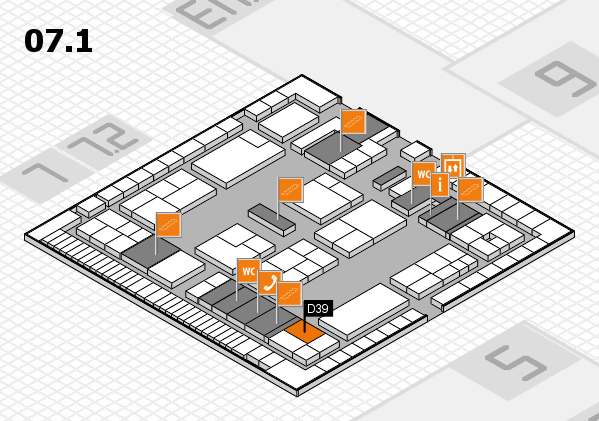 K 2016 hall map (Hall 7, level 1): stand D39
