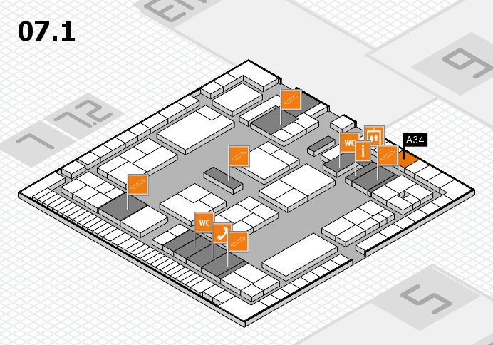 K 2016 hall map (Hall 7, level 1): stand A34