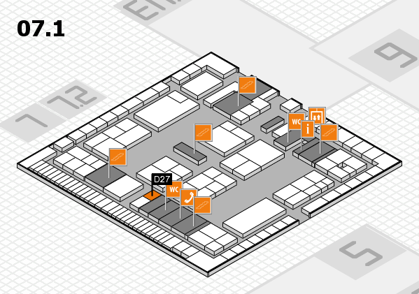 K 2016 hall map (Hall 7, level 1): stand D27