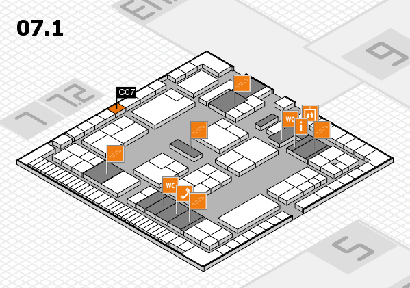 K 2016 hall map (Hall 7, level 1): stand C07