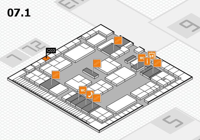 K 2016 hall map (Hall 7, level 1): stand C03