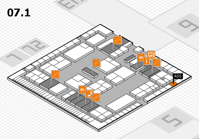 K 2016 hall map (Hall 7, level 1): stand A55