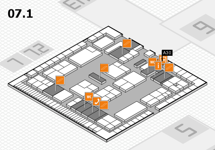 K 2016 hall map (Hall 7, level 1): stand A30