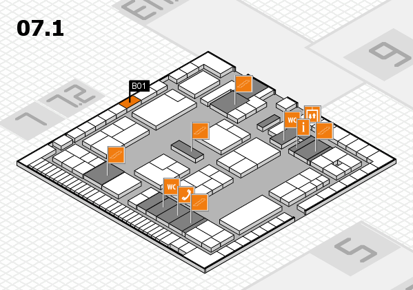 K 2016 hall map (Hall 7, level 1): stand B01