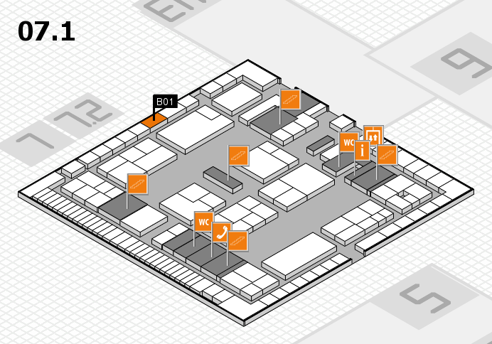 K 2016 hall map (Hall 7, level 1): stand B01