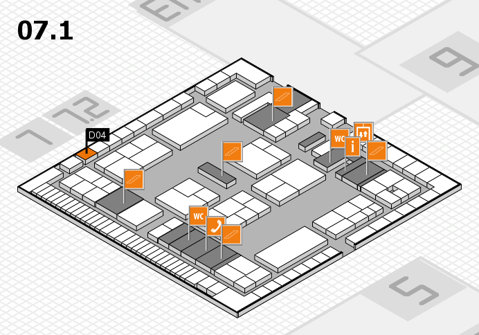 K 2016 hall map (Hall 7, level 1): stand D04