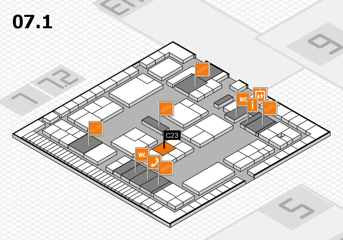 K 2016 hall map (Hall 7, level 1): stand C23