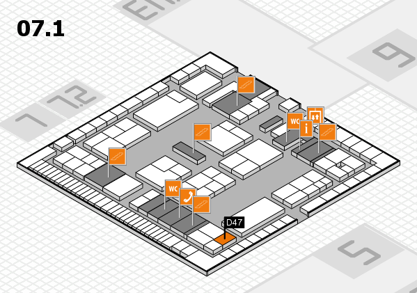 K 2016 hall map (Hall 7, level 1): stand D47