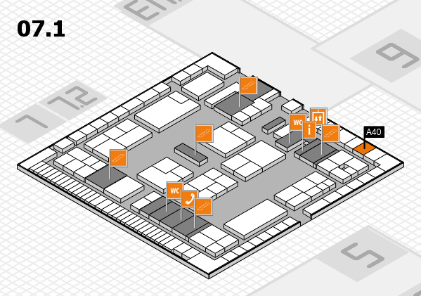 K 2016 hall map (Hall 7, level 1): stand A40