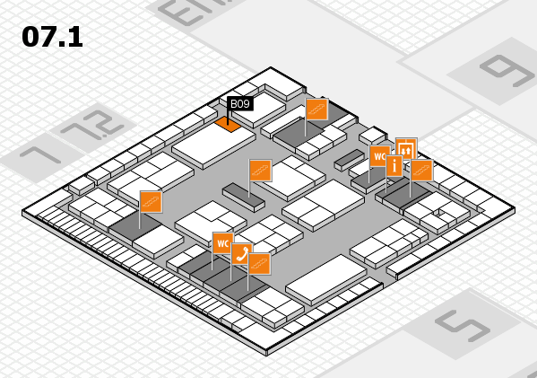 K 2016 hall map (Hall 7, level 1): stand B09