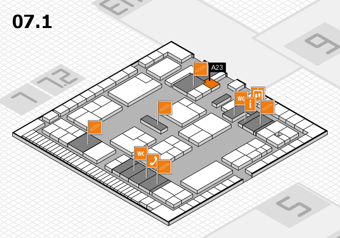 K 2016 hall map (Hall 7, level 1): stand A23