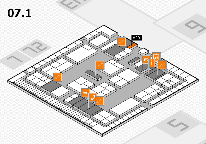K 2016 hall map (Hall 7, level 1): stand A20