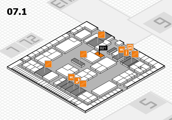 K 2016 hall map (Hall 7, level 1): stand B21