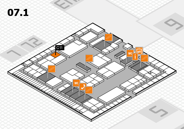 K 2016 hall map (Hall 7, level 1): stand C11