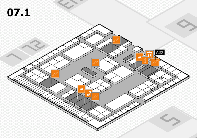 K 2016 hall map (Hall 7, level 1): stand A32