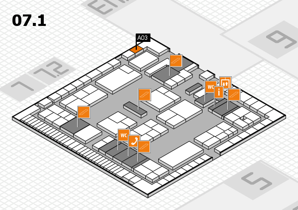 K 2016 hall map (Hall 7, level 1): stand A03