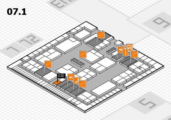 K 2016 hall map (Hall 7, level 1): stand E30