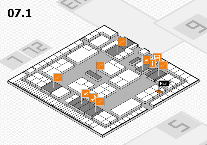 K 2016 hall map (Hall 7, level 1): stand B45