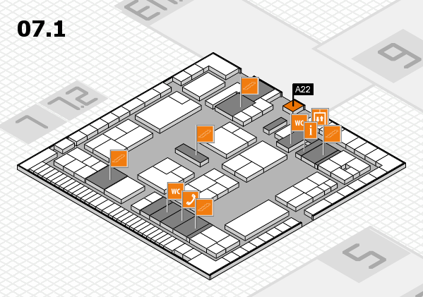 K 2016 hall map (Hall 7, level 1): stand A22