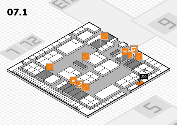 K 2016 hall map (Hall 7, level 1): stand B55