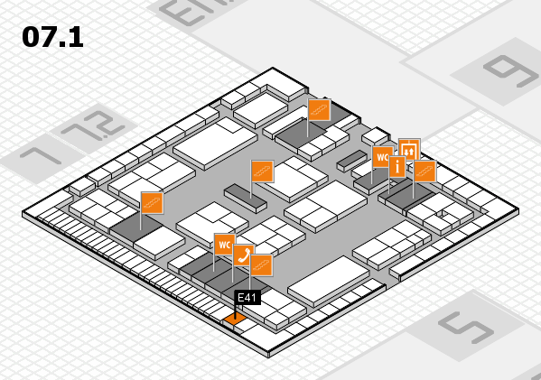 K 2016 hall map (Hall 7, level 1): stand E41