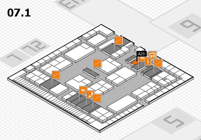 K 2016 hall map (Hall 7, level 1): stand A25
